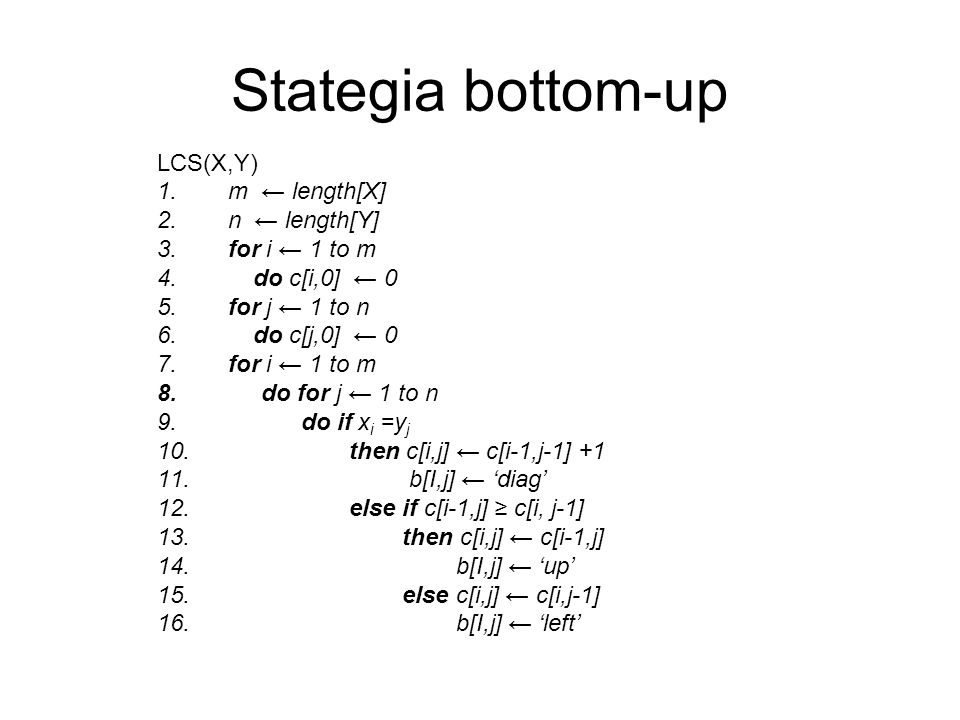 Stategia bottom-up LCS(X,Y) m ← length[X] n ← length[Y] for i ← 1 to m